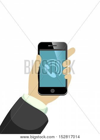 hand keeping ringing mobile phone, vector illustration