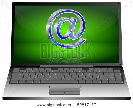 Laptop computer with Email Symbol - 3D illustration