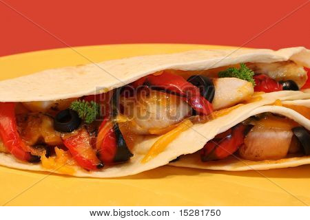 Grilled chicken and cheese wrap