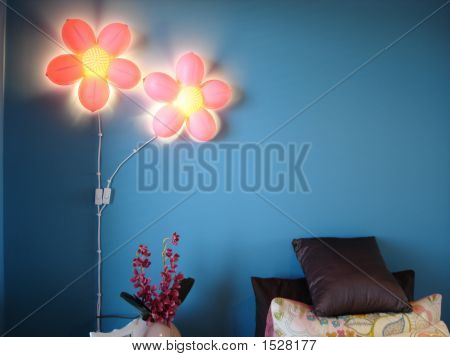 Pink Flower Lights Blue Wall