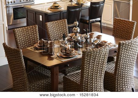 Dining room table elegantly set.