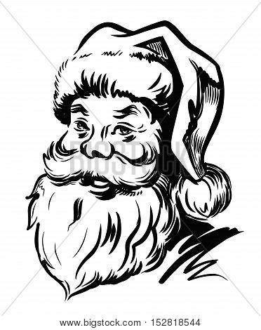 Portrait Santa Claus vector illustration on white