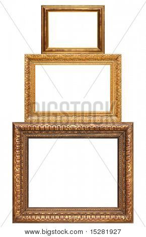 Three stacked antique picture frames, add your own text or photos.