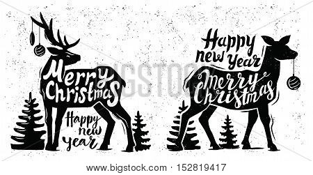 Greeting card design vector for Christmas deer