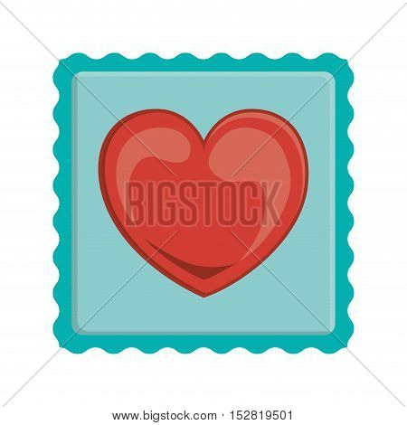 blue post stamp with red heart shape inside. vector illustration