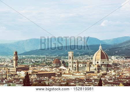 Florence is the capital city of the Italian region of Tuscany and of the province of Florence. Retro photo filter. Travel destination. Beautiful place.