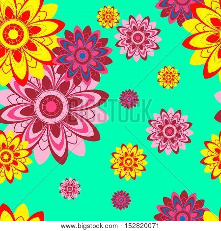 Seamless texture with abstract flowers. Decorative elements. Colorful background can be used for textile design.