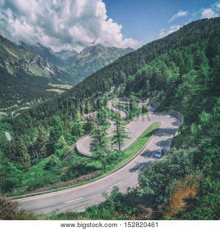 Amazing view of maloja pass, Alps, Switzerland, Europe, toned like Instagram filter