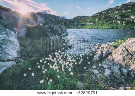 Amazing view of small lake near Totensee lake on the top of Grimselpass. Alps, Switzerland, Europe, toned like Instagram filter