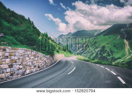 Amazing view of alpine pass, Switzerland, Europe, toned like Instagram filter