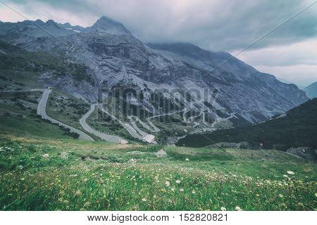 Amazing sunrice on the top of grossglockner pass, Alps, Switzerland, Europe, toned like Instagram filter
