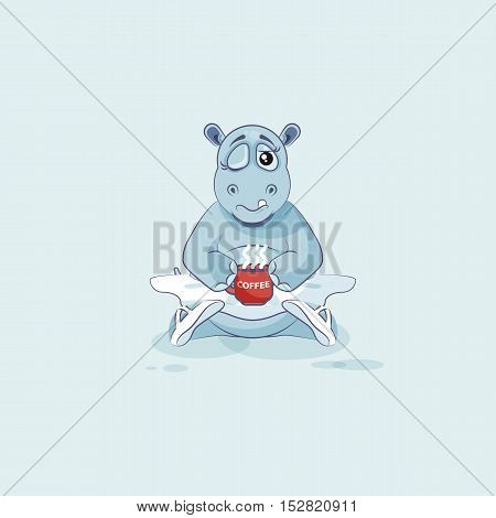 Vector Stock Illustration isolated Emoji character cartoon ballerina Hippopotamus just woke up with cup of coffee sticker emoticon for site, info graphic, video, animation, website, mail, newsletter