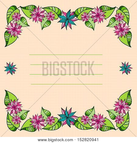 Frame of flowers and leaves. Vector illustration
