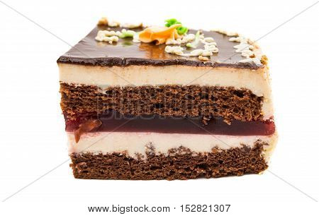 chocolate piece of cake on a white background