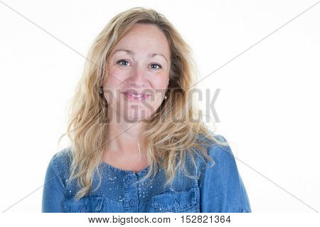 Lovely And Smiling Blond Middle-aged Woman Isolated