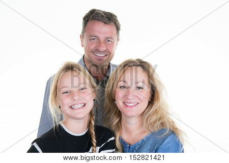 Parents Isolated On White, Girl And Parents