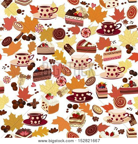Seamless pattern with cups, candy, and autumn leaves.