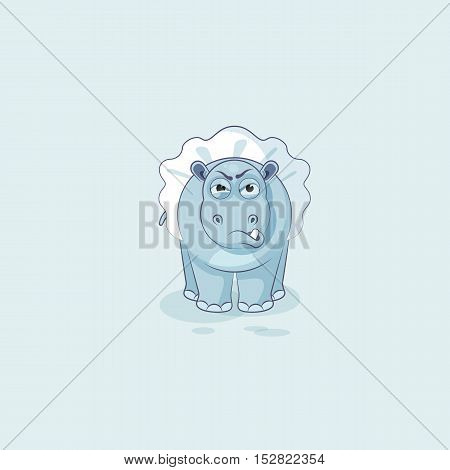 Vector Stock Illustration isolated Emoji character cartoon ballerina Hippopotamus sticker emoticon with angry emotion for site, info graphic, video, animation, website, mail, newsletter, report, comic