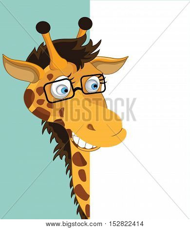Fun Cartoon Giraffe looking at a blank white page for use in advertising presentations brochures blogs documents and forms etc