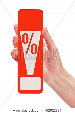 female hand holding a card with a discount