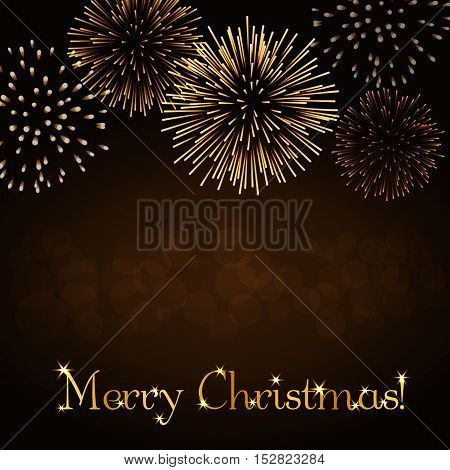 Merry Christmas background. Gold abstract firework for card greeting Xmas celebrate banner Light glow sparkle glitter. Happy New Year celebration design. Golden decoration Vector illustration