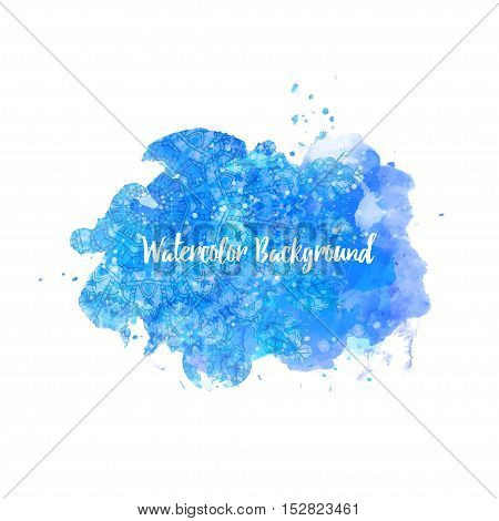 Watercolor coloring background Eps10 blue. Happy new year card