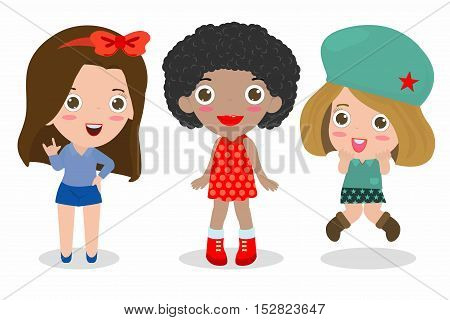 set of cute fashion teenage girl on white background