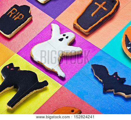 Halloween cookies on a colored background homemade