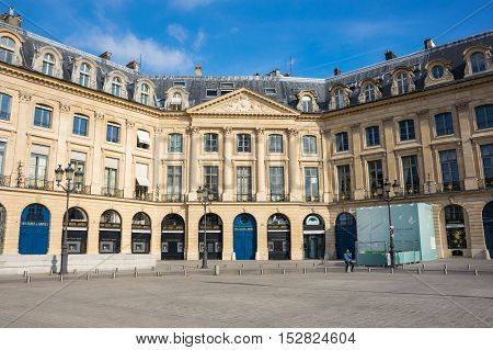 PARIS FRANCE - OCTOBER 11 2015: Place Vendome with its historical buildings and shops in the centre of Paris the capital and most visited city of France