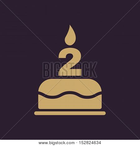 The birthday cake with candles in the form of number 2 icon. Birthday symbol. Flat Vector illustration