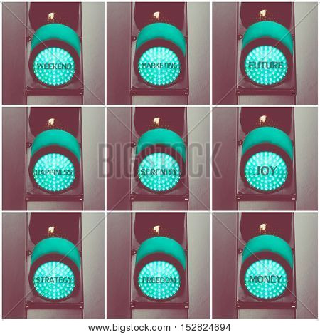 Concept Messages Written Over Green Traffic Lights