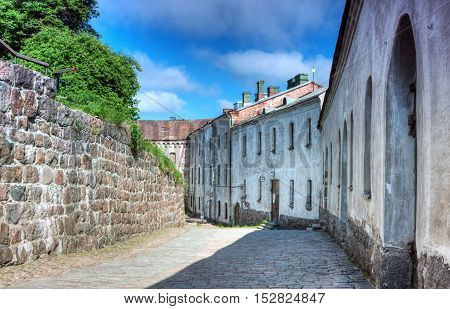 The house in the street the medieval castle. Vyborg Russia