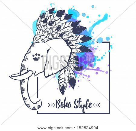 Elephant head with american indian chief headdress feather. Print for clothes, cards, picture banner for websites. Ethnic Indian ornaments. Vector illustration watercolor