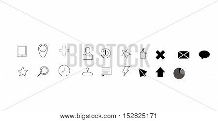 Set of vector icons on white background