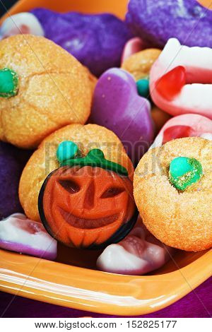 fruit jelly candies for the holiday halloween background