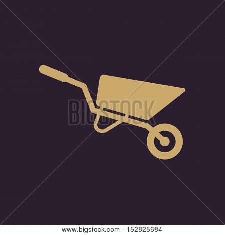 The wheelbarrow icon. Barrow symbol. Flat Vector illustration
