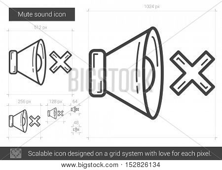 Mute sound vector line icon isolated on white background. Mute sound line icon for infographic, website or app. Scalable icon designed on a grid system.
