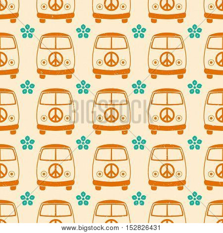 Hippie vintage car a mini van. Ornamental background. Love and Music with textures. Hippy color vector illustration. Retro 1960s, 60s, 70s