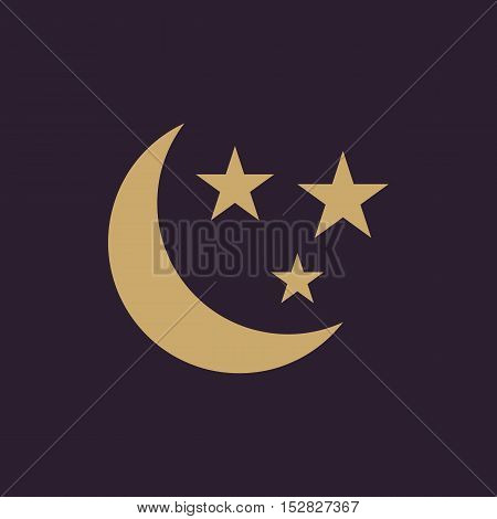 The moon and stars icon. Night, sleep symbol. Flat Vector illustration