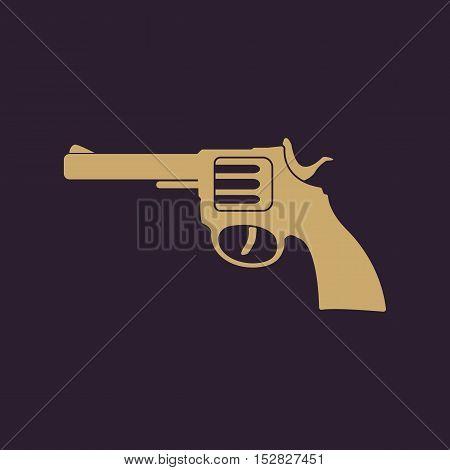 The revolver icon. Gun and weapon symbol. Flat Vector illustration