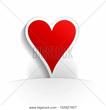 heart card icon paper style full vector
