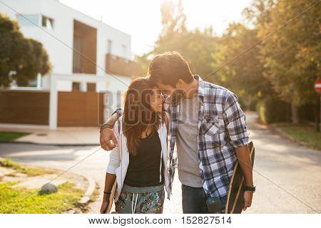 Longboard Teenage Couple