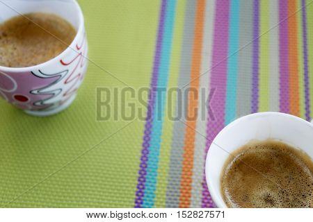 short and creamy italian coffee espresso in cup