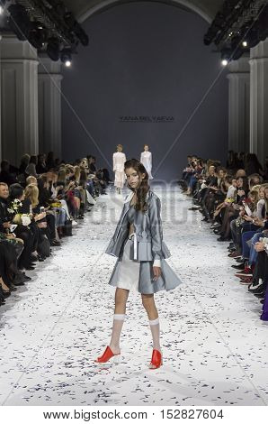 KYIV, UKRAINE - OCTOBER 13, 2016: Model walks the runway at Yana Belyaeva collection show during the 39th Ukrainian Fashion Week at Mystetsky Arsenal in Kyiv
