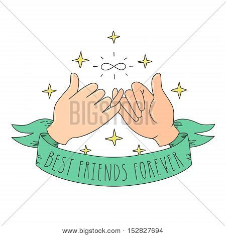 Best friends forever cartoon style little fingers with infinity sign ribbon and stars illustration. Hands illustration.