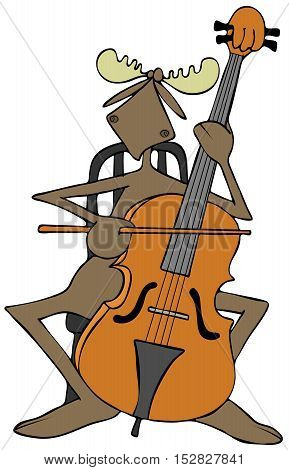 Illustration of a bull moose seated in a chair and playing a cello.