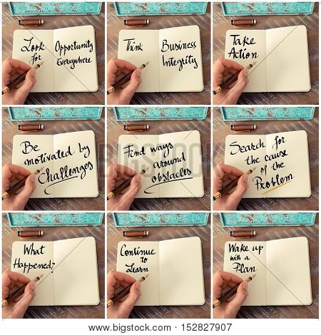 Photo Collage Of Handwritten Business Motivational Messages