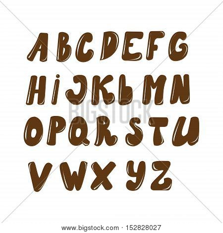 Vector English alphabet drawn in chocolate style
