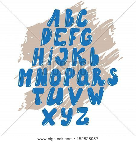 Vector Latin alphabet made of caramel liquid. Font style