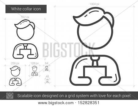 White collar vector line icon isolated on white background. White collar line icon for infographic, website or app. Scalable icon designed on a grid system.